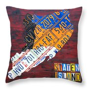 License Plate Map Of Staten Island New York Nyc Throw Pillow