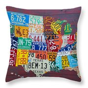 License Plate Map Of The United States Throw Pillow