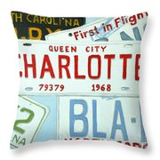 License Plates Throw Pillow by Stacy C Bottoms