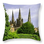 Lichfield Cathedral From The Garden Throw Pillow