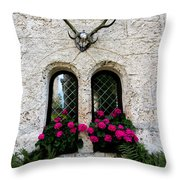 Lichtenstein Castle Windows Wall And Antlers - Germany Throw Pillow