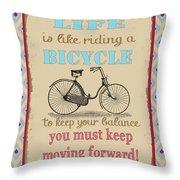 Life-bicycle Throw Pillow