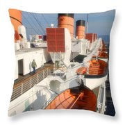 Life Boats 01 Queen Mary Ocean Liner Port Long Beach Ca Throw Pillow