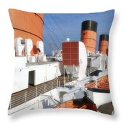 Life Boats 02 Queen Mary Ocean Liner Port Long Beach Ca Throw Pillow