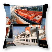 Life Boats Collage Queen Mary Ocean Liner Long Beach Ca Throw Pillow