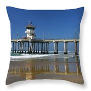 Life Guard Station Reflection On Ocean Sand At Huntington Beach City Pier Fine Art Photography Print Throw Pillow