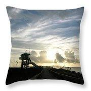Life Guard Tower And Jetty At Dawn 9-27-14 By Julianne Felton Throw Pillow