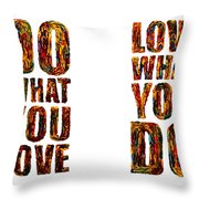 Life Love Acrylic Palette Knife  Throw Pillow