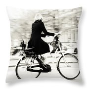 Life On Bike. Trash Sketches From The Amsterdam Streets Throw Pillow