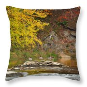 Life On The River Square Throw Pillow by Bill Wakeley
