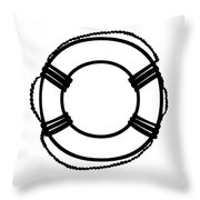 Life Preserver In Black And White Throw Pillow
