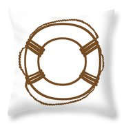 Life Preserver In Brown And White Throw Pillow