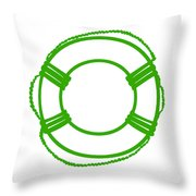Life Preserver In Green And White Throw Pillow