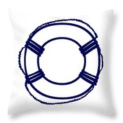 Life Preserver In Navy Blue And White Throw Pillow