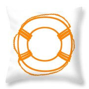 Life Preserver In Orange And White Throw Pillow
