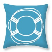 Life Preserver In White And Turquoise Blue Throw Pillow