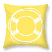 Life Preserver In White And Yellow Throw Pillow