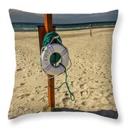 Life Preserver On The Beach In Pentwater Michigan Throw Pillow