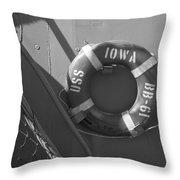 Life Ring Uss Iowa Battleship Bw Throw Pillow