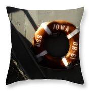 Life Ring Uss Iowa Battleship Sepia Throw Pillow