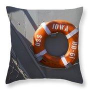 Life Ring Uss Iowa Battleship Throw Pillow