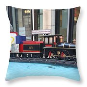 Life Size Toy Train Set In Nyc Throw Pillow
