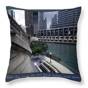 Life Will Flash Before Your Eyes Blue Background Throw Pillow