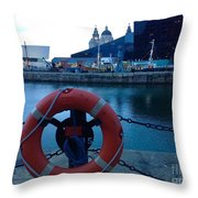 Lifebelt At Albert Dock Throw Pillow