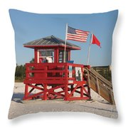 Lifeguard Siesta Beach Throw Pillow