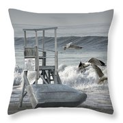 Lifeguard Station With Flying Gulls At A Lake Huron Beach Throw Pillow