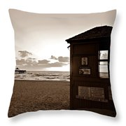 Lifeguard Tower Sunrise In Sepia Throw Pillow