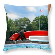 Lifeguard Watches Swimmers Throw Pillow