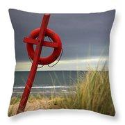Lifesaver On The Beach Throw Pillow