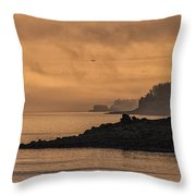 Lifting Fog At Sunrise On Campobello Coastline Throw Pillow