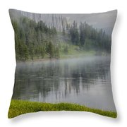 Lifting Fog On The Yellowstone River Throw Pillow