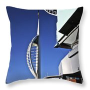 Lifting Portsmouth's Spinnaker Tower Throw Pillow