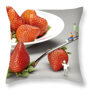 Lifting Strawberry By A Fork Lever Food Physics Throw Pillow