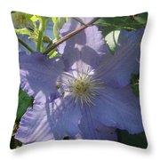 Light Blue Clematis Throw Pillow