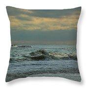 Light Blue Waves Throw Pillow