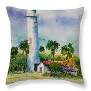 Light House At The Beach Throw Pillow