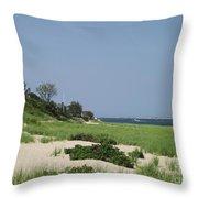 Light House Beach Throw Pillow