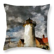 Light House In A Storm Throw Pillow
