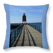 Light House In Charlevoix Mich Throw Pillow