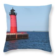Light House Lake Michigan Throw Pillow