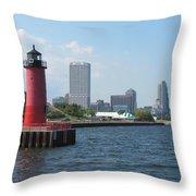 Light House Milwaukee Skyline 1 Throw Pillow