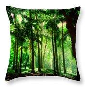 Light In The Jungles. Viridian Greens. Mauritius Throw Pillow