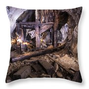 Light Painting In A Gold Mine 2 Throw Pillow