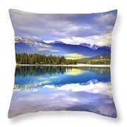 Light Play At Lake Annette Throw Pillow
