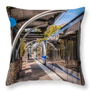 Light Rail Train System In Downtown Charlotte Nc Throw Pillow