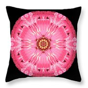 Light Red Zinnia Elegans Flower Mandala Throw Pillow by David J Bookbinder